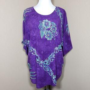 Vtg Purple Tropical Blouse Tie Dye Floral 1X